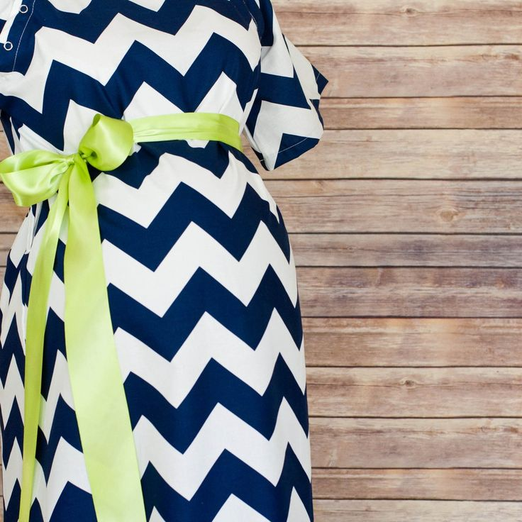Navy Chevron - Maternity Hospital Delivery & Nursing Gown