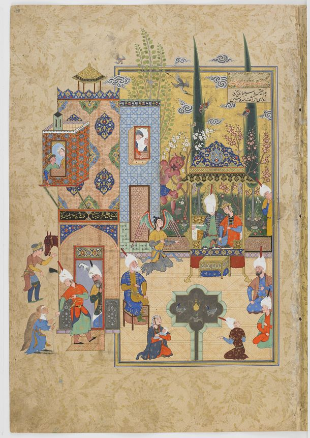 Click to zoom Folio from a Haft awrang (Seven thrones) by Jami (d.1492); recto: Solomon and Bilqis sit together and converse frankly; verso: text