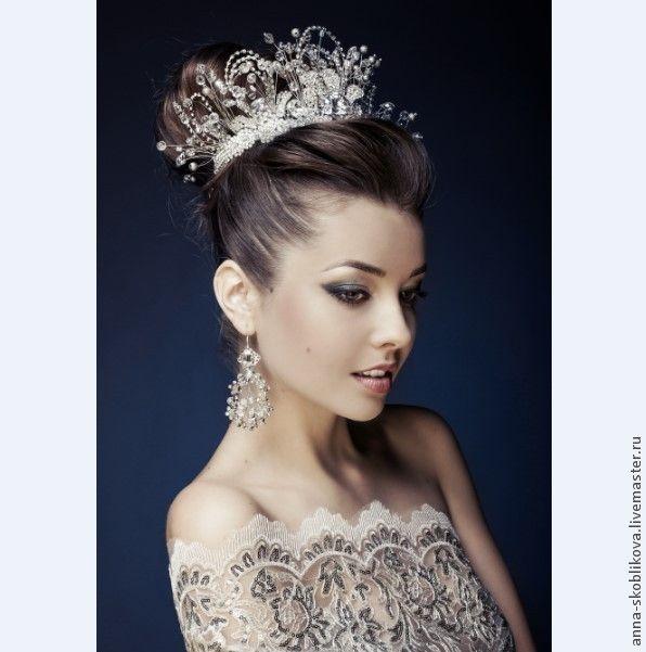 Купить КОРОНА, ТИАРА, СВАДЕБНАЯ ДИАДЕМА - серебряный, корона, тиара, диадема невесты, диадема