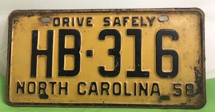 1958 North Carolina License Plate HB-316 | Collectibles, Transportation, Automobilia | eBay!