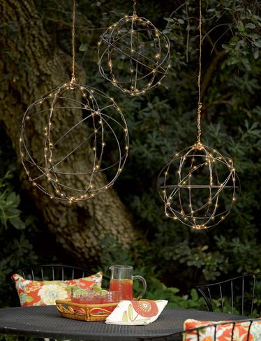 Wire Sphere Battery Operated LED Lights, 14""