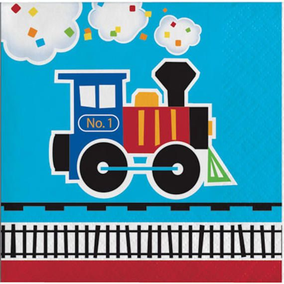 All Aboard Train Paper Beverage Napkins-Set of 16-NEW-2 ply