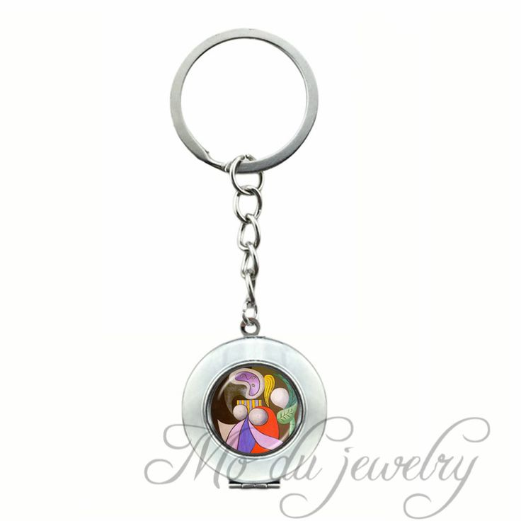 Picasso Cubism Locket Pendant Key Chain Ring Modern Art Glass Cabochon Keychain Charm Jewelry Handcrafted Jewellery Wholesale