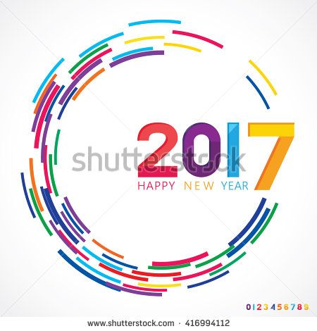 Vector illustration of Happy New Year 2017.