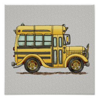 Cute School Bus Poster