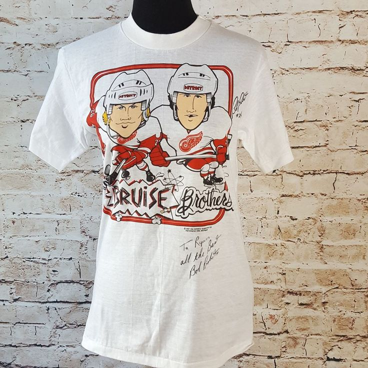 BOB PROBERT Detroit Red Wings 1987 Vintage Signed Hockey T-shirt Autographed S #Hanes #DetroitRedWings