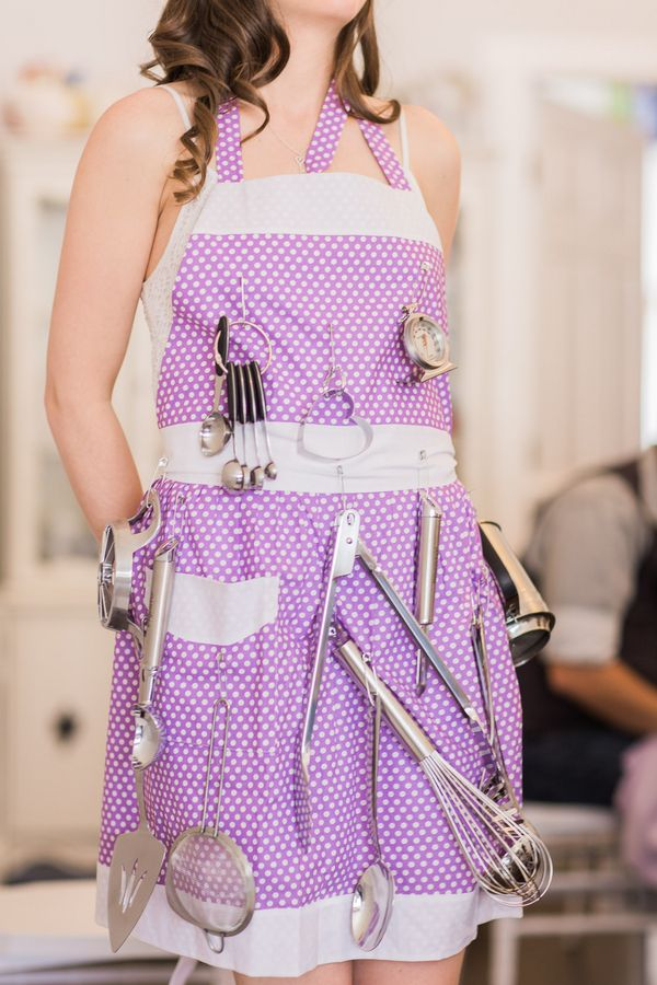 What a fun kitchen-themed bridal shower gift! | Lavender Kitchen Themed Bridal Shower Captured by Irving Photography