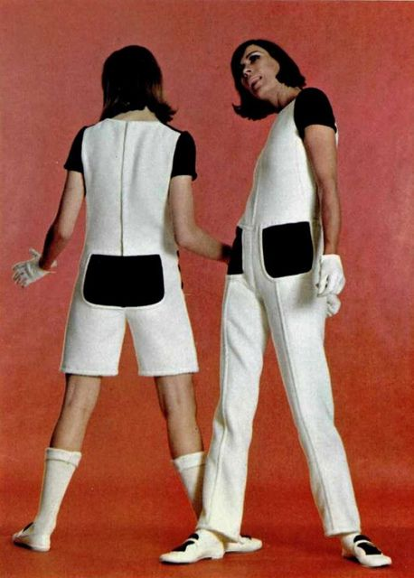 Courrèges #space age #1960s- also the short miniskirts with the white patent leather tall boots