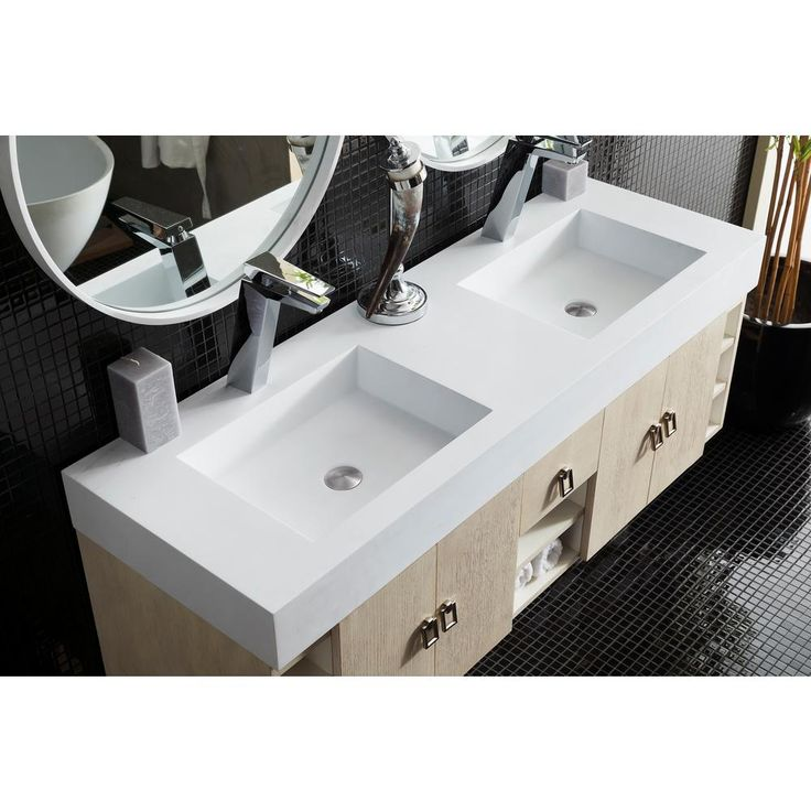 James Martin Signature Vanities Tiburon 59 in. W Double Vanity in Vanilla Oak with Solid Surface Vanity Top in White with White Basin