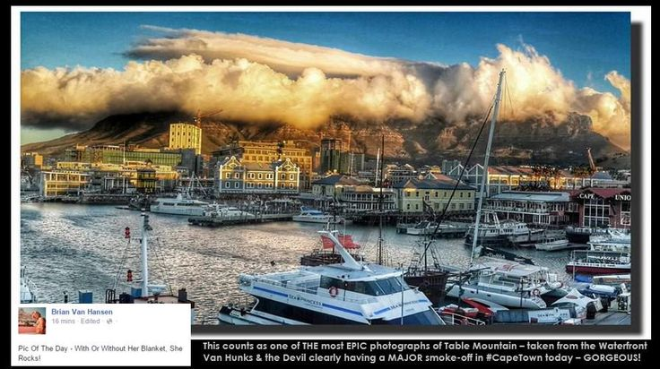 EPIC, breathtakingly gorgeous pic of Van Hunks & the Devil having smoke-off on Table Mountain, #CapeTown . STUNNING!