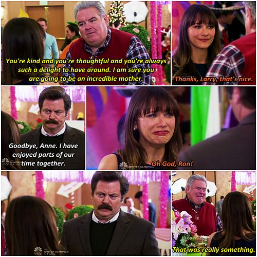 """Parks and Recreation Season Six Episode 13: Ann and Chris. """"I have enjoyed parts of our time together."""""""