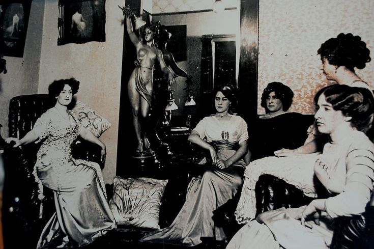"""Photo of a photo of prostitutes in 1800's Seattle; most likely the """"house"""" of Madam Lou Graham, who was also an amazing business woman."""