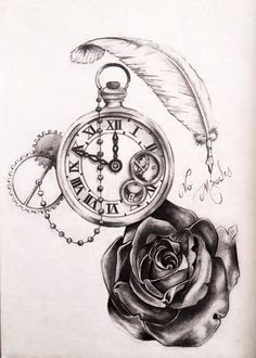 Photos horloge tattoo dessin dessin pinterest - Montre a gousset tattoo ...
