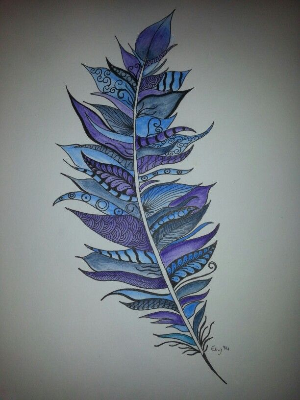 *Sold* Feather Doodle Zia