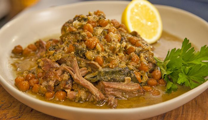 Lamb Shoulder Cooked in Yoghurt with Chickpeas and Silverbeet