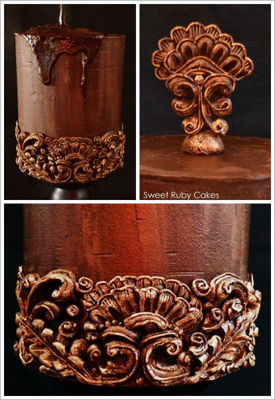 Inspired by antique wall molding, this cake is romantic, ornate and all about chocolate! From the base icing to the intricate bottom molding and antiqued topper, it's all chocolate ganache! Created using no molds, just cold chocolate ganache and a hot knife… let's marvel at this Hand Carved Chocolate Ganache Cake!