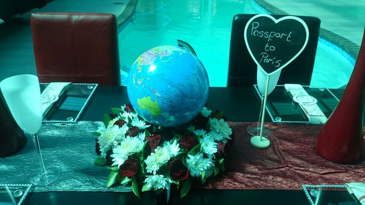 Airhostess travel all around the world centerpiece