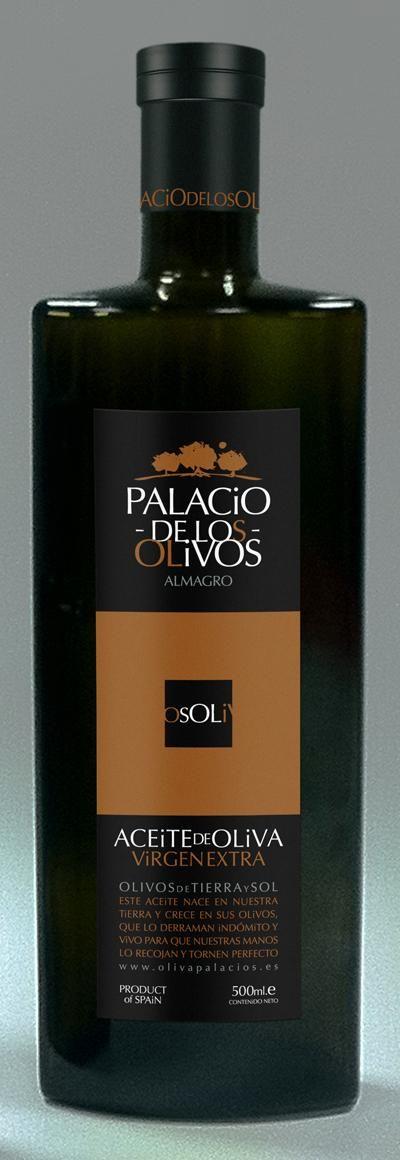 """LOTE 3 BOTELLAS DE ACEITE OLIVA VIRGEN EXTRA. """"PALACIO DE LOS OLIVOS"""" 500 ml."""