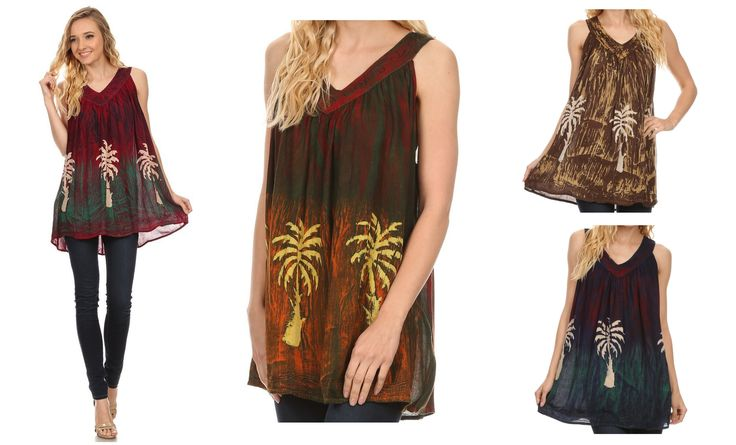 This blouse features a v neck, and sleeveless cut with tank top straps. This blouse is meant to fit as a tank top and has a draped body. There is detailed embroidery designs at the neckline, and bottom hem of the blouse. The blouse itself has a unique dye wash and printed palm trees. It is lightweight and completely opaque with a comfortable fit. To style this top, wear with your favorite pair of denim, shorts, pants, trousers, skirt, you name it!