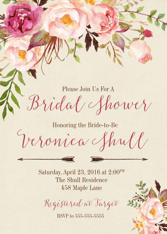 Invitación despedida de soltera Shabby Chic por PaperLimeDesigns
