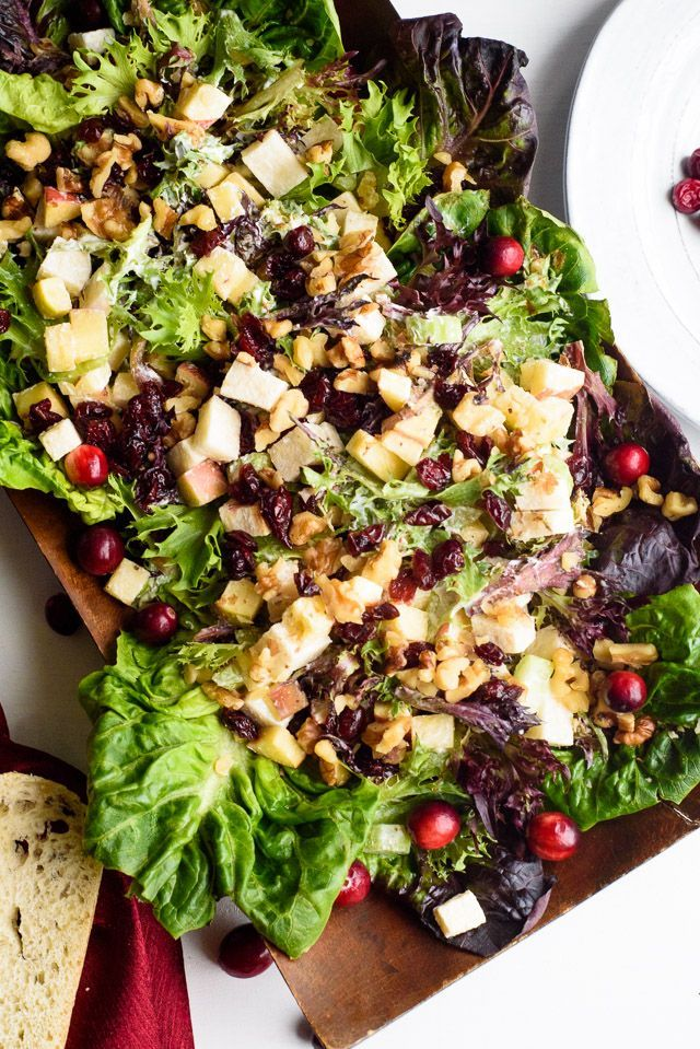 This healthy Waldorf salad with cranberries and jicama is a bright and colorful twist on a classic! Perfect for the holidays!