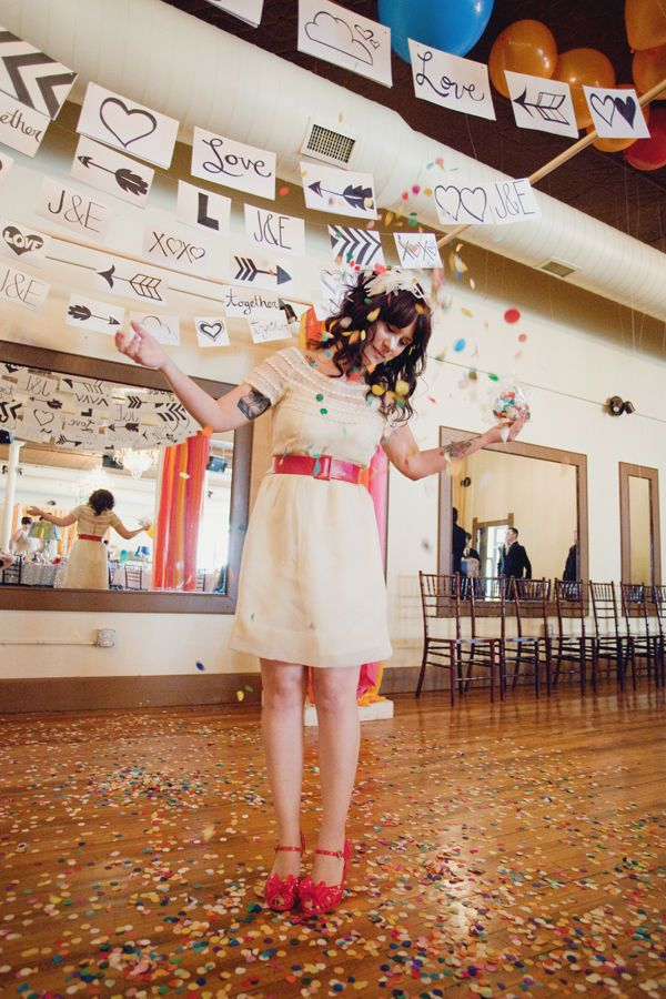 confetti instead of rice - love the colors http://www.stylemepretty.com/gallery/photo/217033