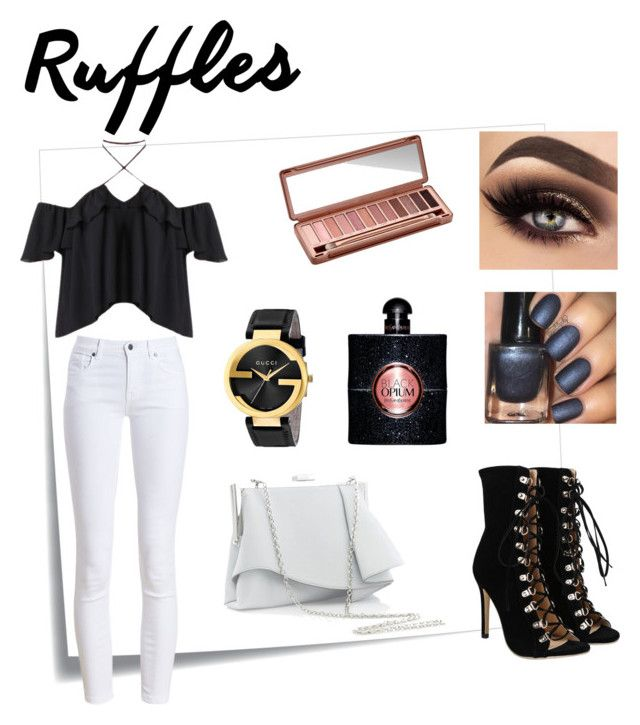 """Ruffles top"" by renataoczak on Polyvore featuring moda, Post-It, Barbour, Coast, Gucci, Urban Decay i Yves Saint Laurent"