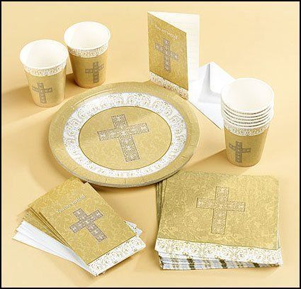 Party Set with Damask Cross Design Sacramental First Communion Baptism Party Plates by Needzo Religious Gifts & 22 best Baptismal Party Ideas images on Pinterest | Baptism ideas ...