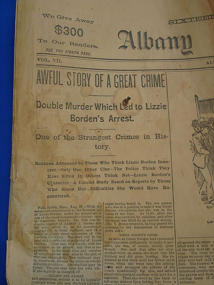down coats Original Lizzie Borden Murder Newspaper AlbanyNY Telegram Aug20th