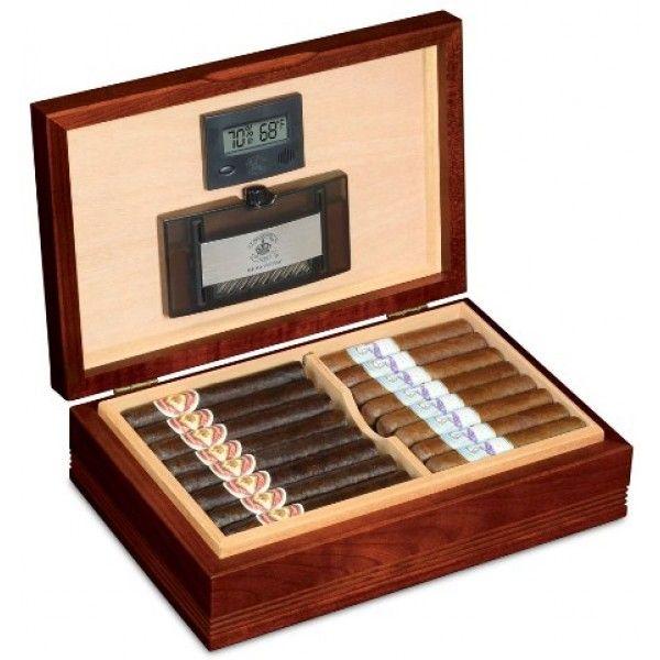 Delaware Cigar Humidor, Red Cherry Finish & Spanish Cedar Linings