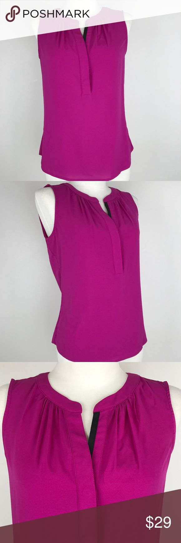 Calvin Klein Suits & Separates Sleeveless Blouse Calvin Klein Suits & Separates Sleeveless Blouse features split neck with contrast trim. Perfect to wear separately or under a suit jacket. Calvin Klein Tops Button Down Shirts