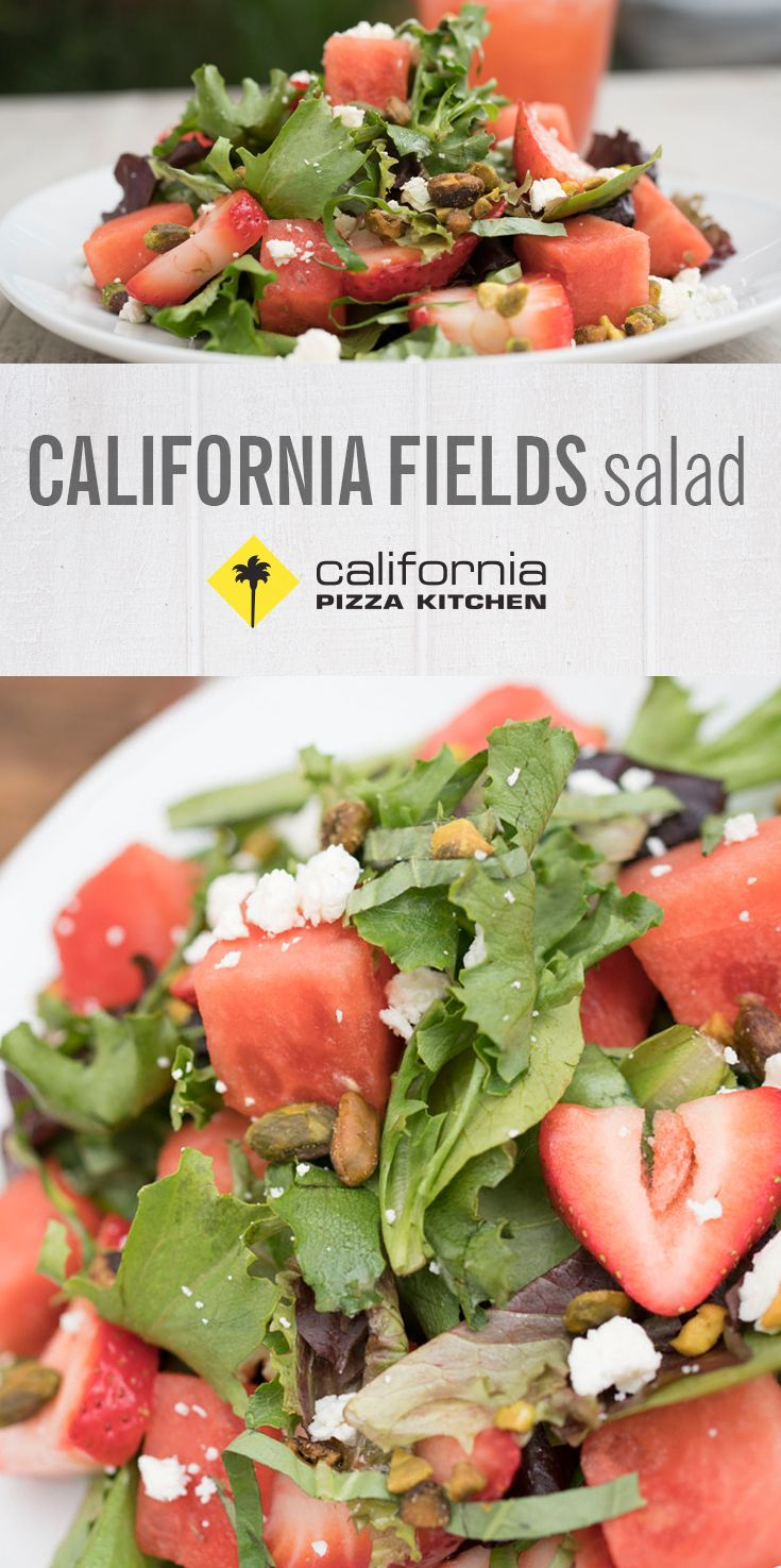 Dive right into our California Fields Salad, made with fresh watermelon and strawberries, feta, California pistachios and housemade Champagne vinaigrette.