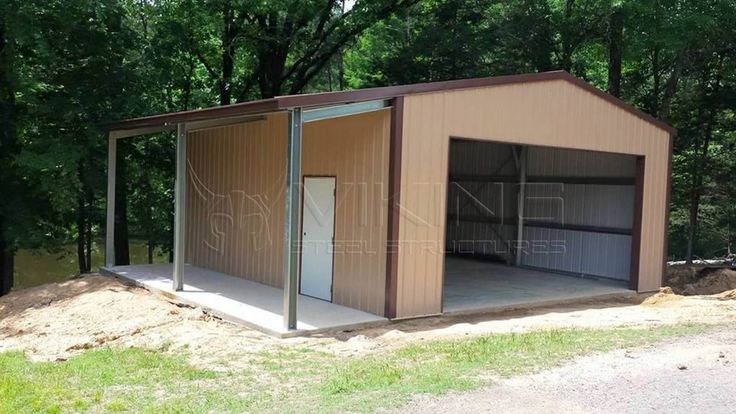 24x30x10 Vertical Garage with Leanto Lean to, Carport