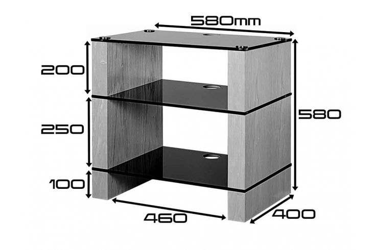 STAX 300 Three shelf Hi-Fi Stand Dimensions, Black Gloss Etched