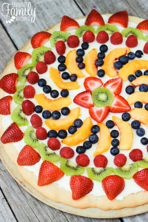 Sugar cookie dough, cream cheese, fresh fruit...what could possibly be better! This Easy Fruit Pizza is a MUST try this summer!