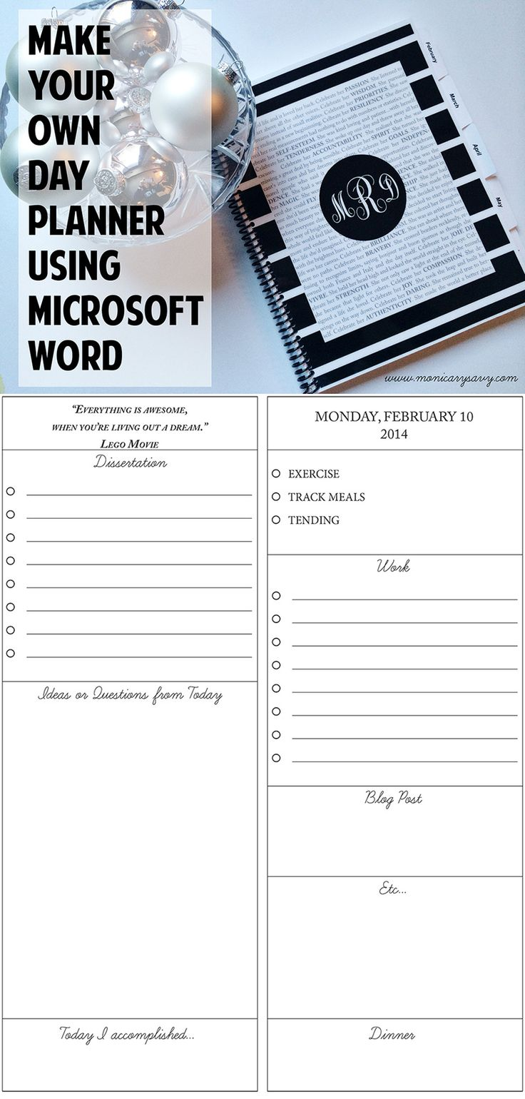 Make your own day planner using Microsoft Word. Then get it printed at a local printer in less than a day. Easy to make and completely customizable so it has the perfect sections for you.