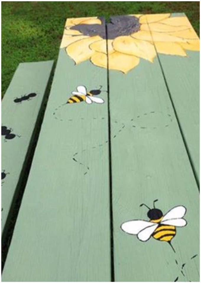 sunflower bees & ants table art