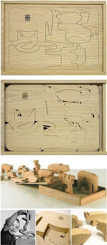 Enzo Mari: 16 Animali Wooden Puzzle (Sedici Animali)  Enzo Mari, Danese, Italy.  This is amazing, but $820 -- ha!