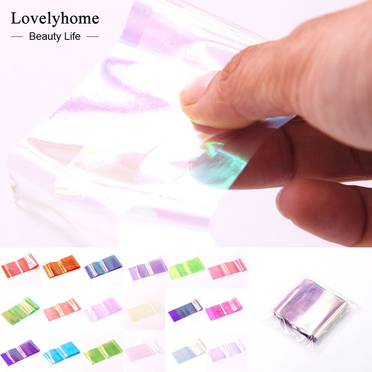 Wholsale! 18 Packs Nail Art Sticker Broken Glass Piece 3D Mirror Effect Foil Candy Tips Stencil Decal Decoration Manicure Tools