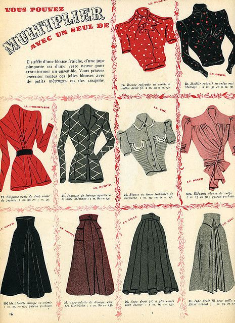 A wonderful array of blouses and skirts from the May 1940 edition of Marie Claire magazine. #vintage #1940s #fashion #illustration