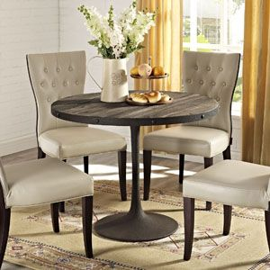 DRIVE WOOD TOP DINING TABLE IN BROWN Deliberately implement down-to-earth aesthetics with the Drive industrial modern dining table. Fashioned on a cast iron pedestal base, the round pine top is braced in a rim of iron to connote progress amidst rustic conditions. In contrast to the standard four legged tables, the single stand variety has been gaining popularity over the past 60 years. Now with the resurgence of industrial modernism, the warehouse of yesteryear, remodeled. #ShabbyChic