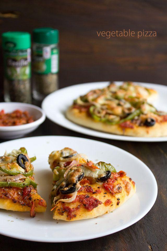 veg pizza recipe, how to make vegetable pizza | vegetarian pizza