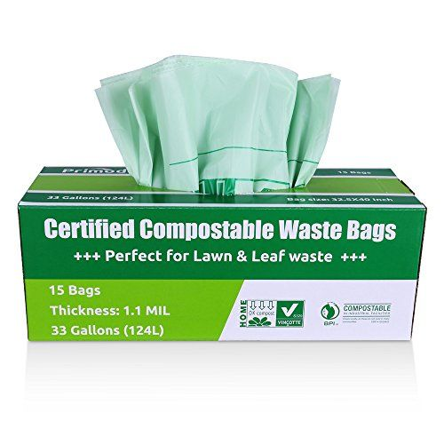 primode compostable bags lawn and leaf extra large trash bags 100 astmd6400 certified compost bags 33 gallon by us bpi and