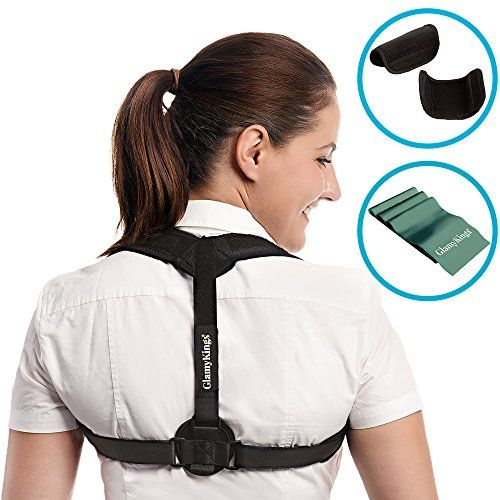 Back Posture Corrector for Women & Men - Adjustable Clavicle Brace for Posture Correction Back Corrector + Resistance Stretching Band by GlamyKings + eBook on Improving Lifestyle  IMPROVE CONFIDENCE: Our back posture corrector brace for men and women provides you posture support and helps you with back posture correction by shifting of shoulders forward to achieve the proper back alignment. You can wear the back corrector under clothes, at Home, Work and Outdoor and feel more Confident...