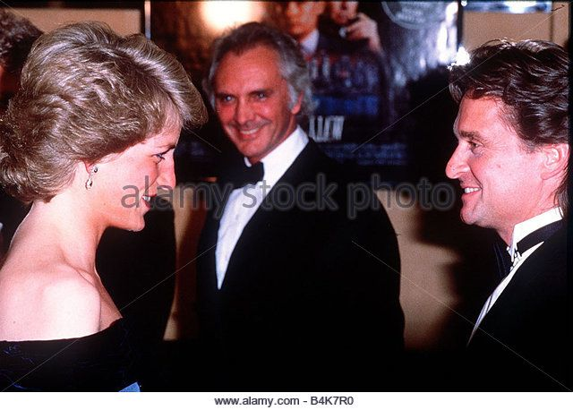 Princess Diana attends the premiere of the film Wall Street Pictured here meeting Michael Douglas April 1988 - Stock Image