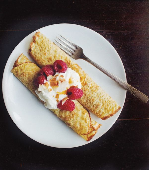 Millet Oat Crepes : ½ cup oat flour (30 grams) ½ cup millet flour (60 grams) 2 tablespoons cornstarch 2 tablespoons sugar ¾ cup soy milk 2 large eggs pinch of salt 2 cups fresh raspberries ½ cup toasted coconut flakes whipped cream