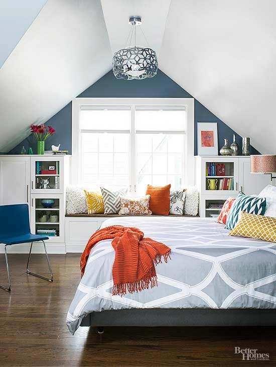 Problem: Bland built-ins Solution: Add punch to a window seat with a colorful throw and pillows. Need help choosing a color? Look for a predominant color on the dust jackets or spines of the books in your shelving and repeat it in your fabrics./