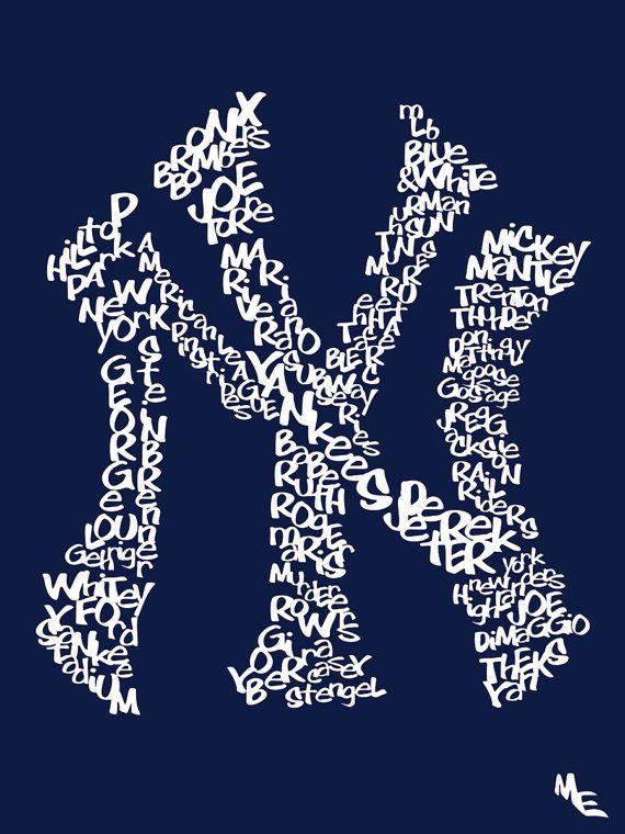 New York Yankees Typography, Custom Wall Poster, Digital Wall Print