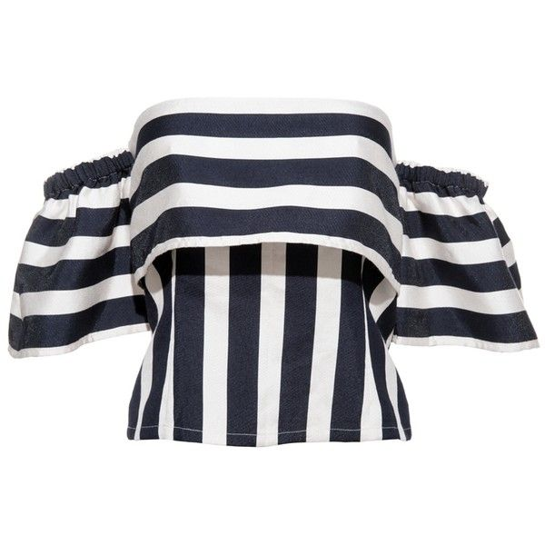 FRS Stripe Off-shoulder Shirt ❤ liked on Polyvore featuring tops, stripe shirt, stripe top, off shoulder tops, bell sleeve shirt and striped top
