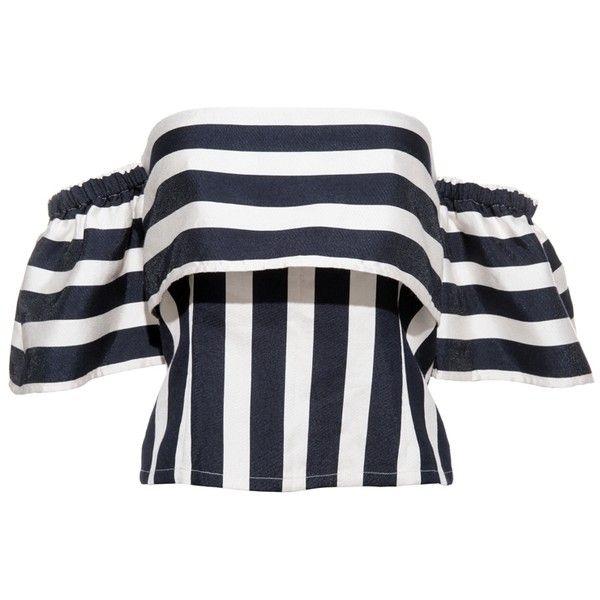 FRS Stripe Off-shoulder Shirt ❤ liked on Polyvore featuring tops, off shoulder shirt, shirt tops, bell sleeve tops, stripe top and stripe shirt
